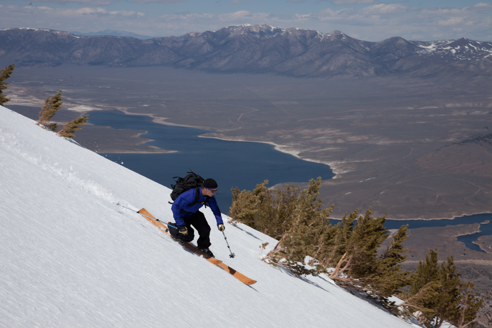 Eric in a beautiful line above Crowley Lake, Eastern High Sierra, California