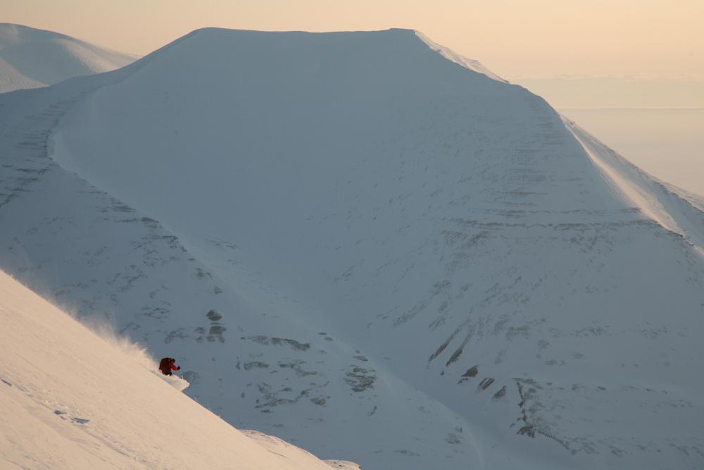 Skiing above Van Mijenfjorden, Svalbard
